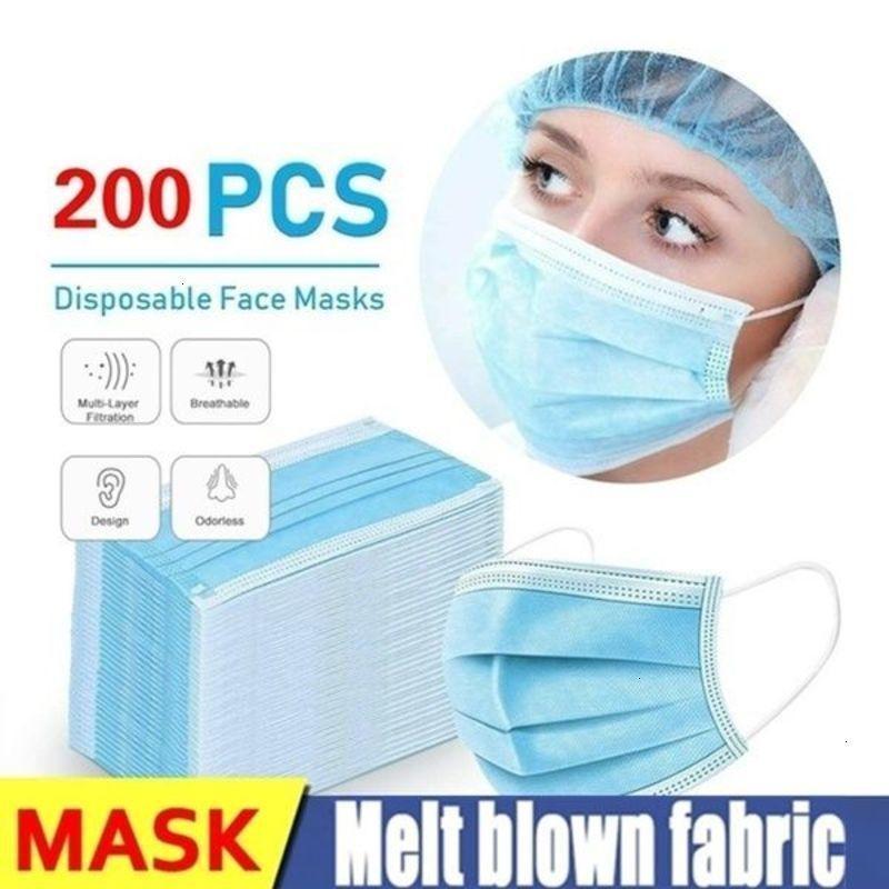 Protective 50pcs/100pcs/200pcs 3-layer Anti-Dust Disposable Mask Earloop Face Mouth Masks Maschera