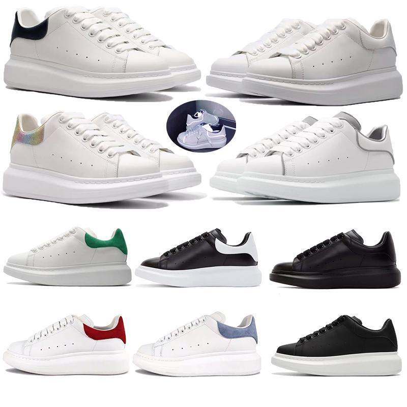 2020 Samt White Herren Womens Reflektierende Leder Sneakers Lace Up Platform Laufen Kleid Party Schuhe Komfortable Flat Trainer Chaussures