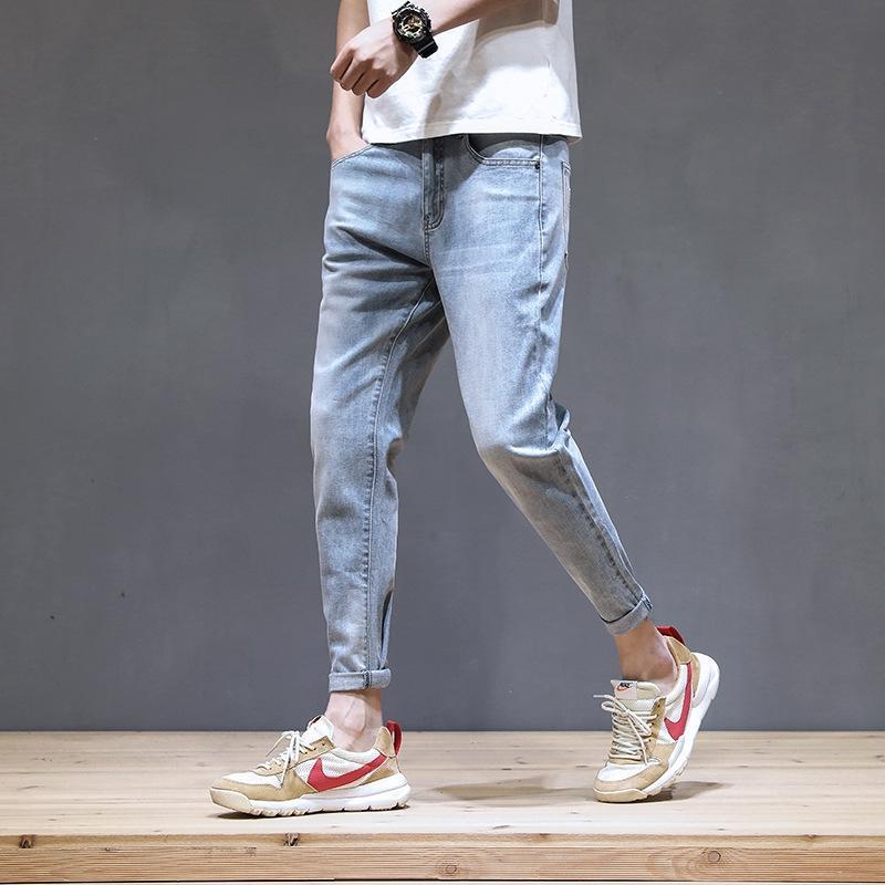 2020 nouveaux jeans déchirés neuf points des hommes de la mode serré neuvième pantalon pantsNine neuf pantsbrand leggings stretch mince pantalon neuf points coréen sty