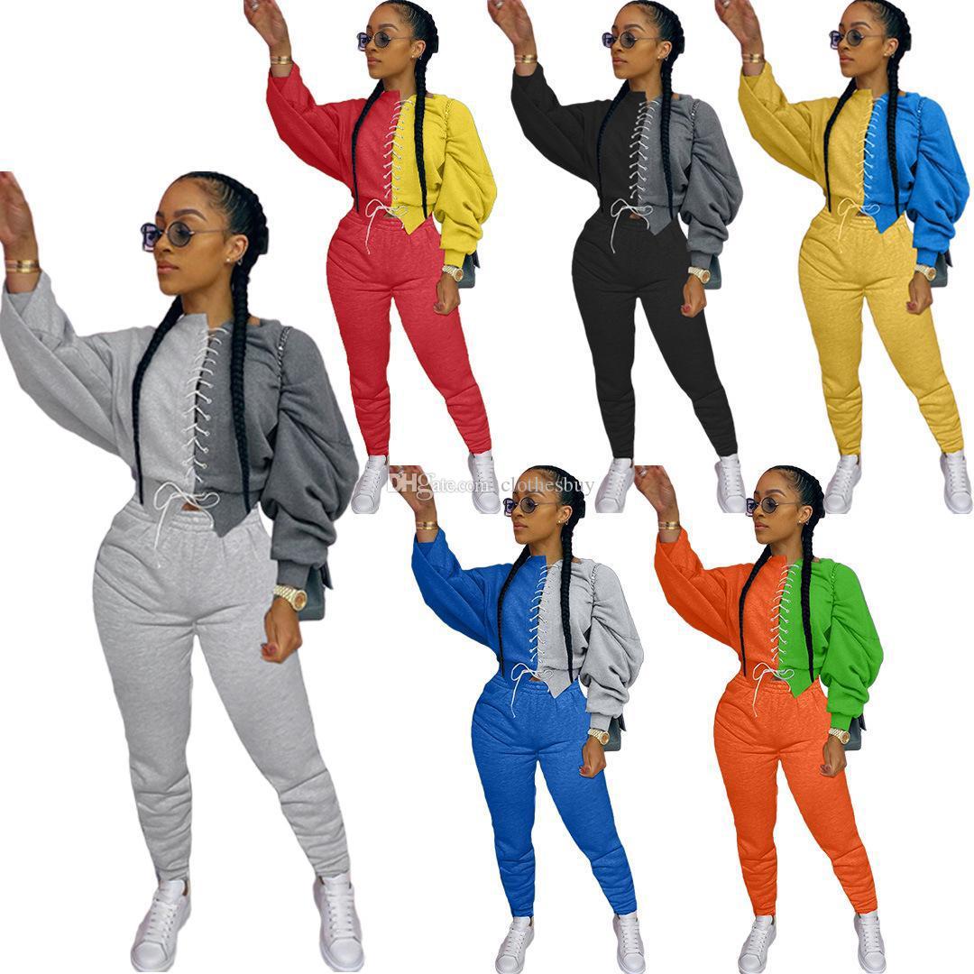 إمرأة اثنان 2 قطعة مجموعة الأزياء رياضية طويلة الأكمام خياطة تباين أعلى بنطلون ملابس السيدات أزياء تي شيرت السراويل عارضة الملابس