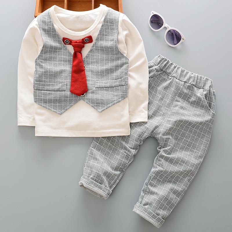 Trajes muchachos del niño del partido 2PC niños del bebé caballeros ropa de la boda Trajes falso dos piezas Conjunto suéter de algodón