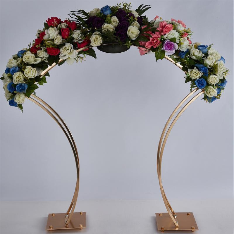 2 قطع الزفاف قوس الذهب خلفية حامل إطار معدني لحضور حفل زفاف الديكور 38 بوصة طويل القامة زهرة حامل كبير محور الجدول ديكور