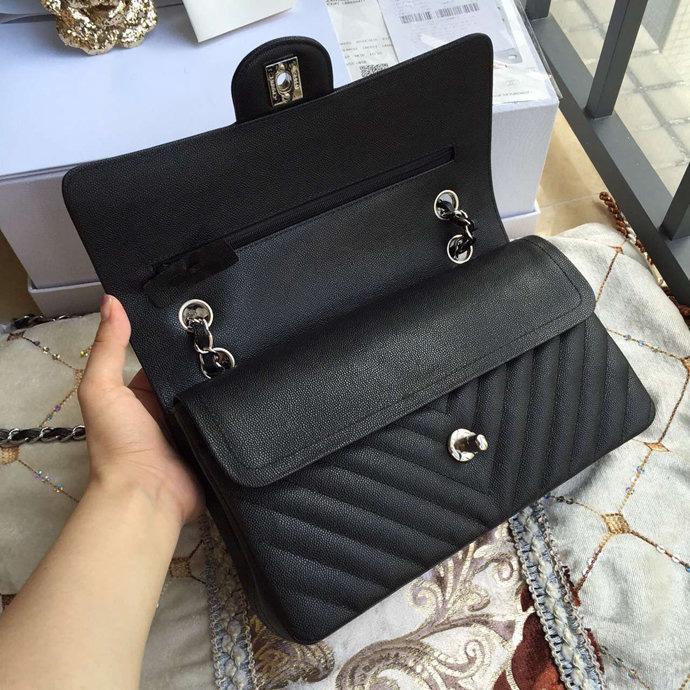 ausgezeichnete Qualität 25.5cm Schwarz V gesteppte Kaviar Doppel Flap Bag Frauen Original-Kaviar aus Kalbsleder-Umhängetasche Tasche Umhängetasche Grau Rot 379