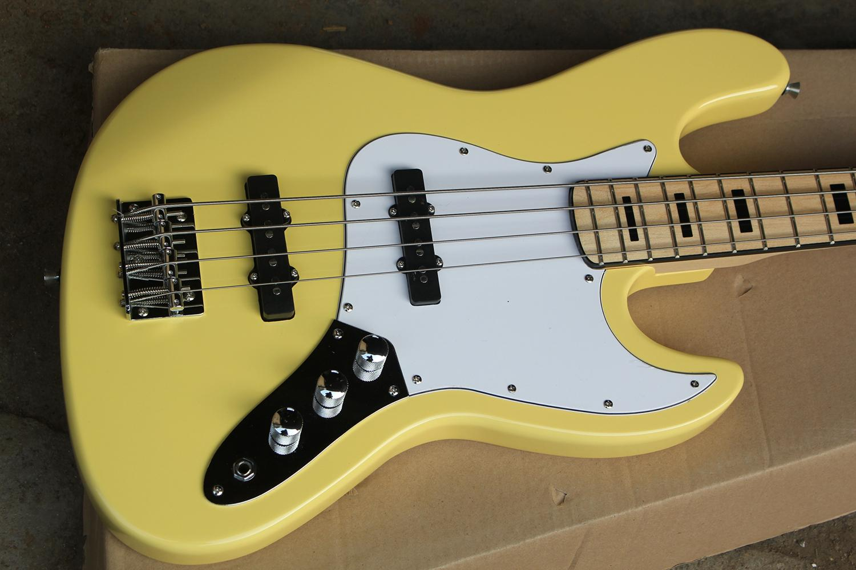 Siyah Inlay ve Chrome Donanım, Beyaz Pickguard ile Fabrika Custom 4-Dize Sarı Elektrik Bas Gitar, Teklif Özelleştirilmiş