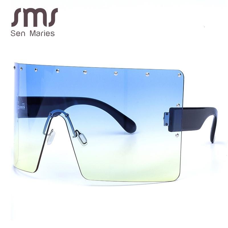 2019 Oversized Mulheres Gradient Sunglasses New Luxulry Marca Crystal Blue roxo aro Praça Feminino Sun Glasses Shades UV400
