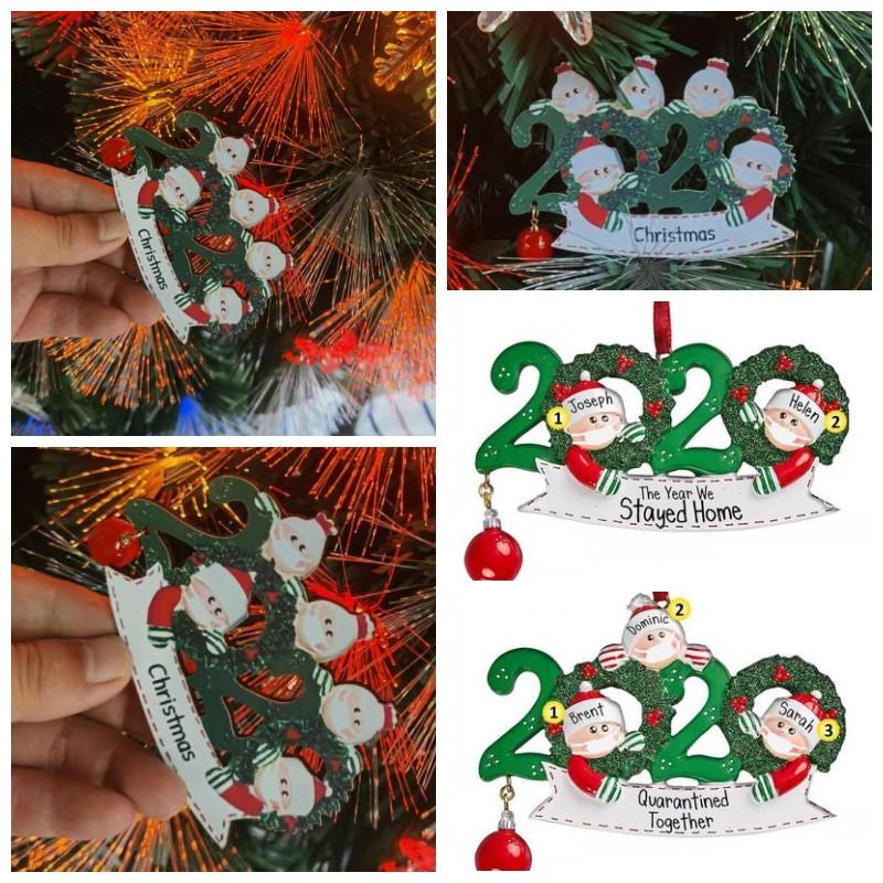 Merry Christmas Ornaments 2020 Santa Claus With Mask Family Tree Decorations Hanging Pendant DIY Name Home Party Decor Popular Gift 6 8xf H1