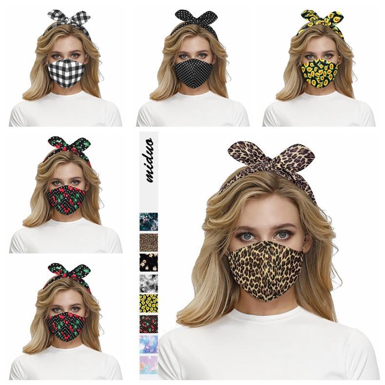 2 in 1 Gesichtsmaske Stirnband-Ohr-Schutz Frauen Gym Sport Yoga Haarreif Kreuz-Haar-Band Elastic Bugwelle Leopard hairlace Headress GWE1665