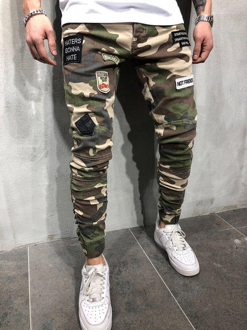 Correctifs Hommes Crayon Pantalons Cool Fashion Army Green Mens Pantalon Camouflage Skinny Jeans Hommes longues stretch