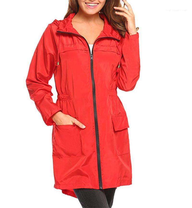 Womens Raincoat Women Designer Winter Coats Fashion Multi Color Drawstring Hooded Windbreaker Zipper Fly Long Trench Coat