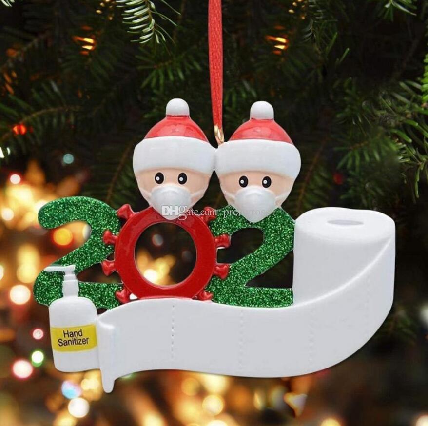 Enfeites de natal 2020 Quarantine xmas Decoração Aniversários partido do presente Família de produtos personalizada de 7 Máscaras ornamento do pendente com cara