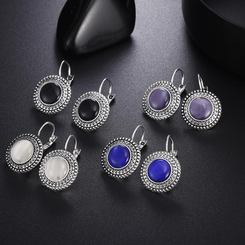 Pendiente redondo bohemio estilo étnico retro para los oídos pendientes de las mujeres Azul Negro Blanco Color Púrpura encanto de la joyería