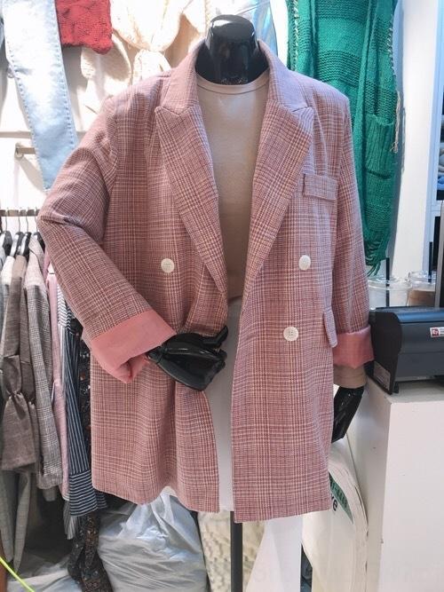 7j8Dg rosa Anzug Student Plaidfrauen Frühlingsmantel coatand Herbst New britischer Stil kleiner Mantel lässig schicker Anzug