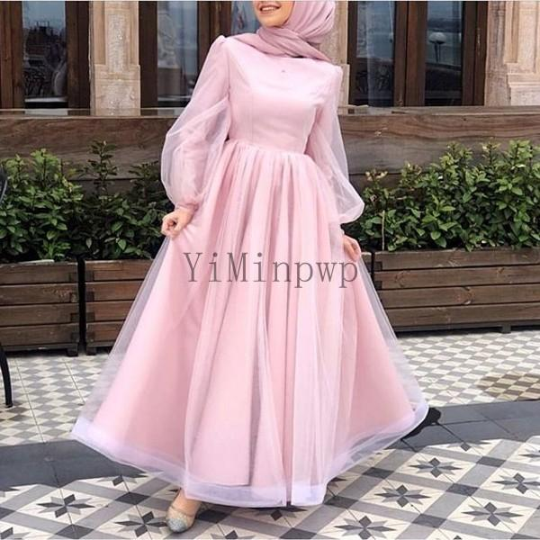 Pink Muslim Wedding Dresses Jewel Long Sleeve Ankle Length A Line Modest Garden Country Bridal Gowns for Bride vestidos de novia Plus Size