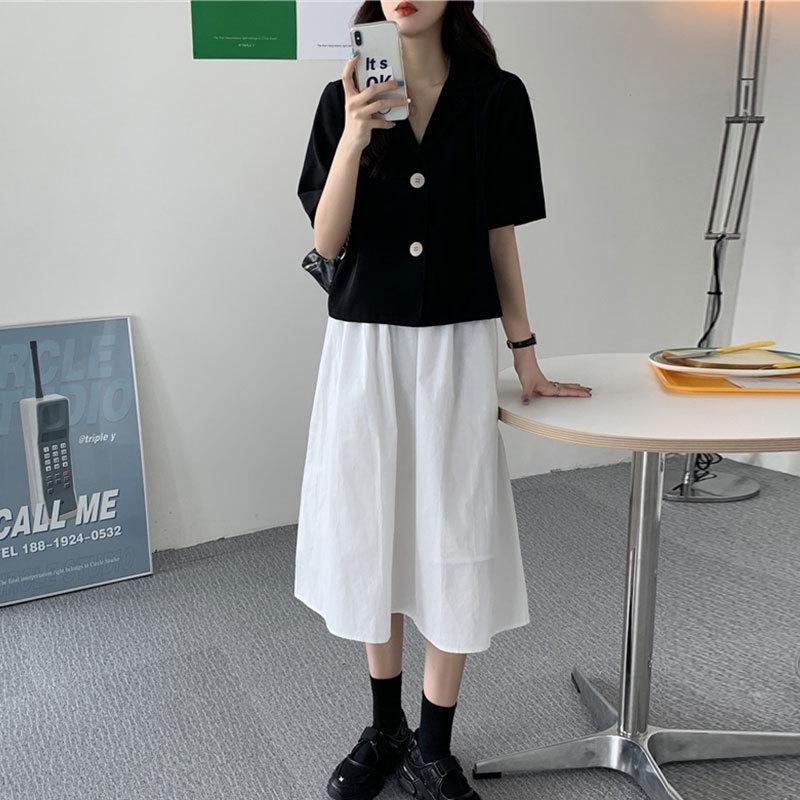 2020 Nova terno de moda simples A- linha de vestido Top camisa do verão + linha A- saia coreano terno tHfod de duas peças das mulheres