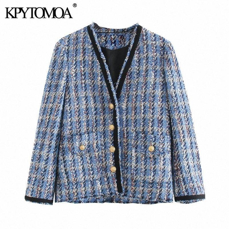 KPYTOMOA Kadınlar 2020 Moda Yıpranmış Trims Tweed Ceket Kaban Vintage V Yaka Uzun Kollu Kadın Dış Giyim Şık YzTn # Tops Pockets