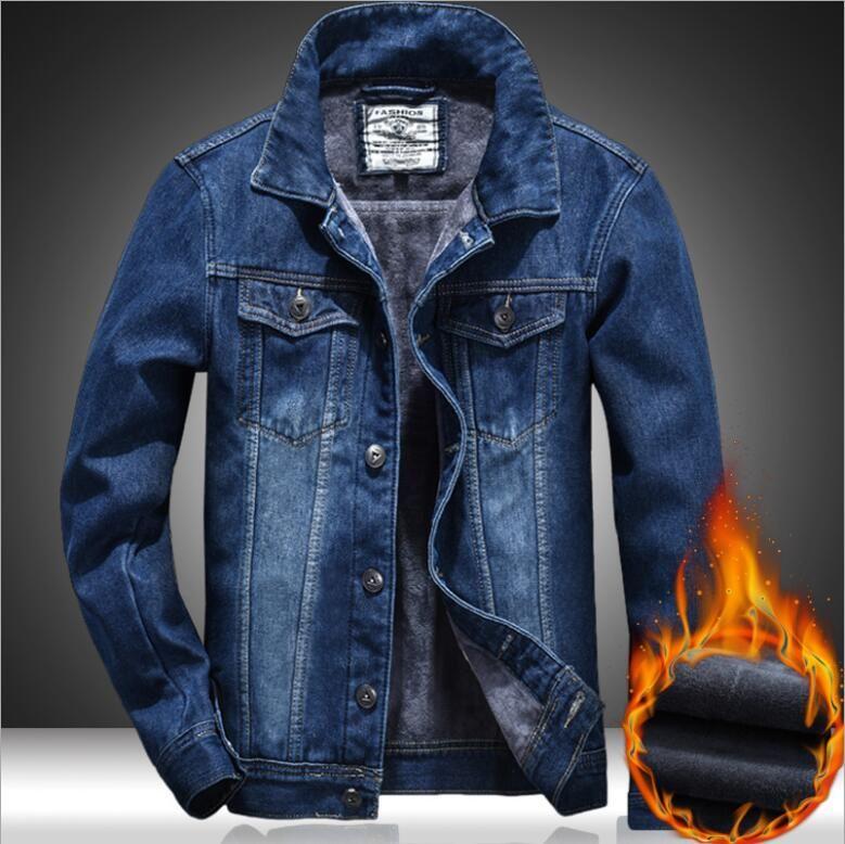 New Fashion Designer Mens Denim Jacket Slim Warm Fleece Thick Jacket Solid Male Jean Jackets Men Cowboy Coats Clothing Hip Hop Outerwear