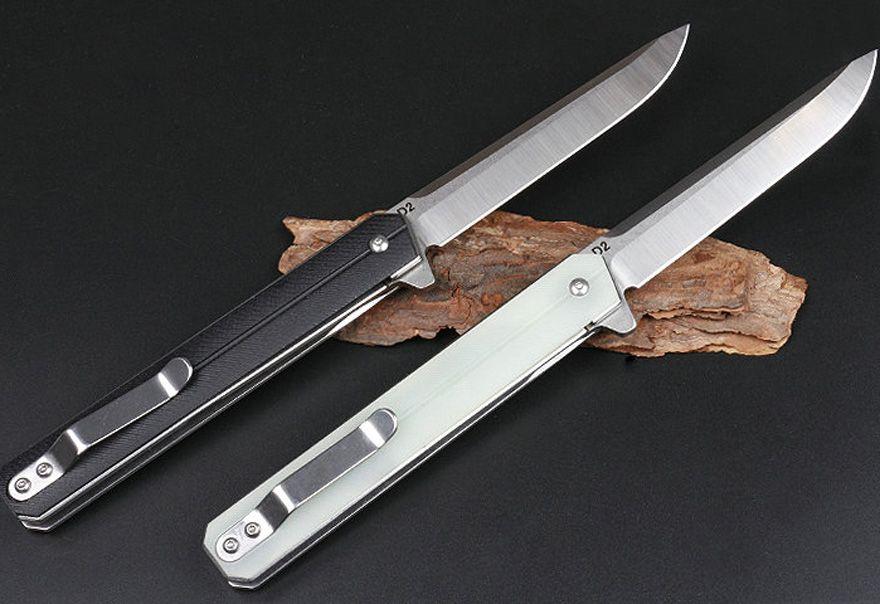 Promotion Ball Bearing Flipper Folding Knife 440C Satin Drop Point Blade Black/Sand G10+Stainless Steel Sheet Handle EDC Knives