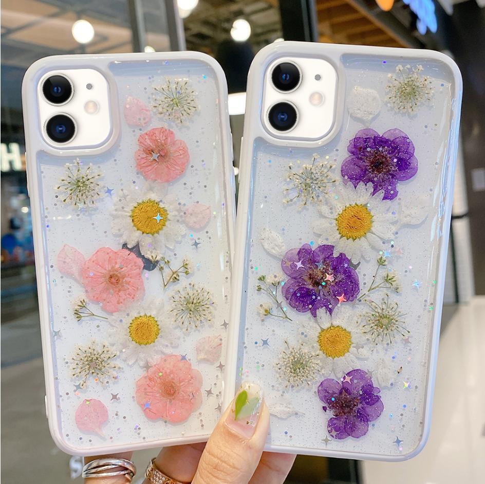 LCHULLE Flor Seca Limpar Soft Case para IPhone 11 Pro XS MAX XR X 7 8 Plus SE 2020 Glitter silicone suave Phone Slim Back Cover