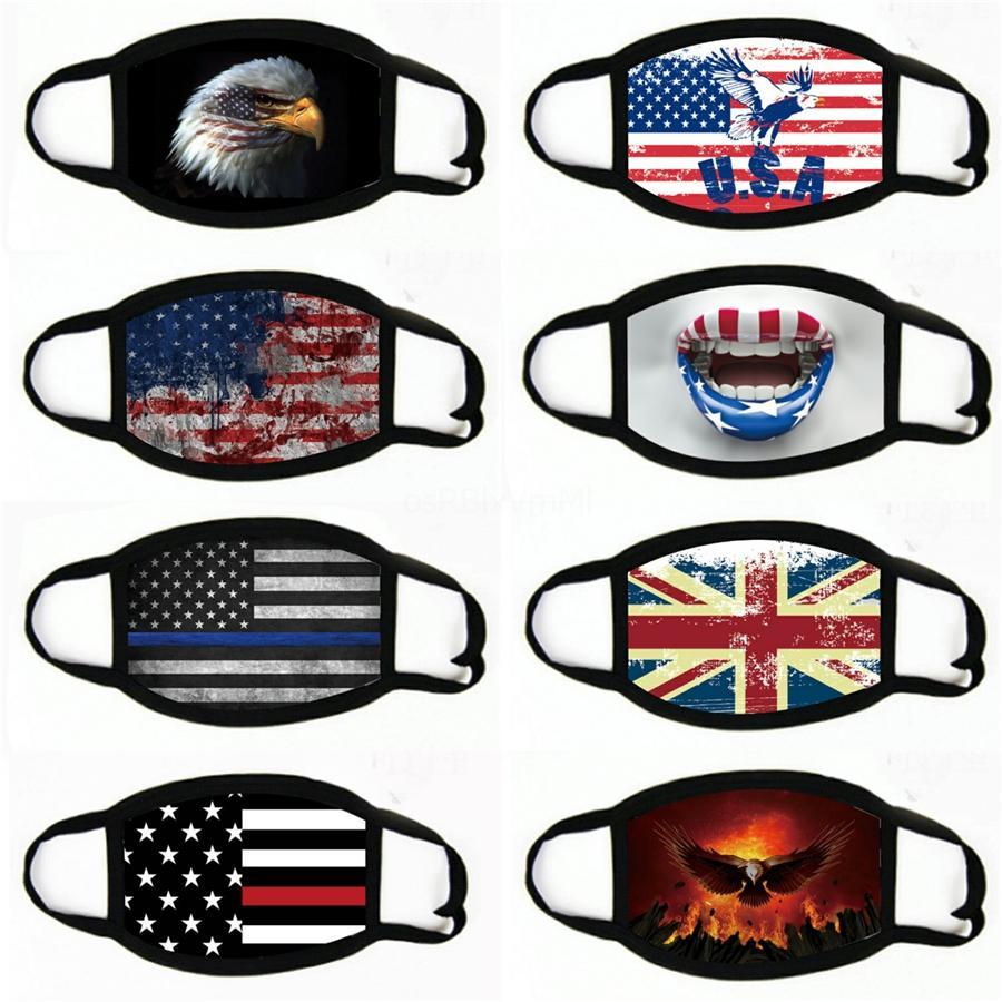 Las máscaras de dibujos animados bandera americana impresa boca unisex lavable al aire libre ultravioleta a prueba de polvo anti-moda boca de mufla adultos máscara # 548