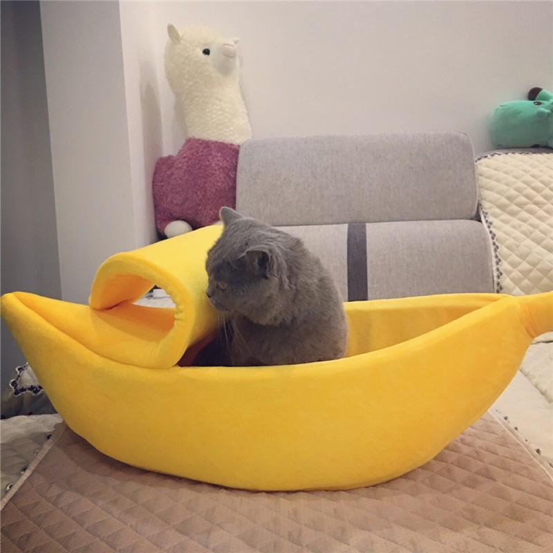 Respirável Cat Pet Bed New Design Banana Forma inverno quente Dog House Acessórios confortável Pet