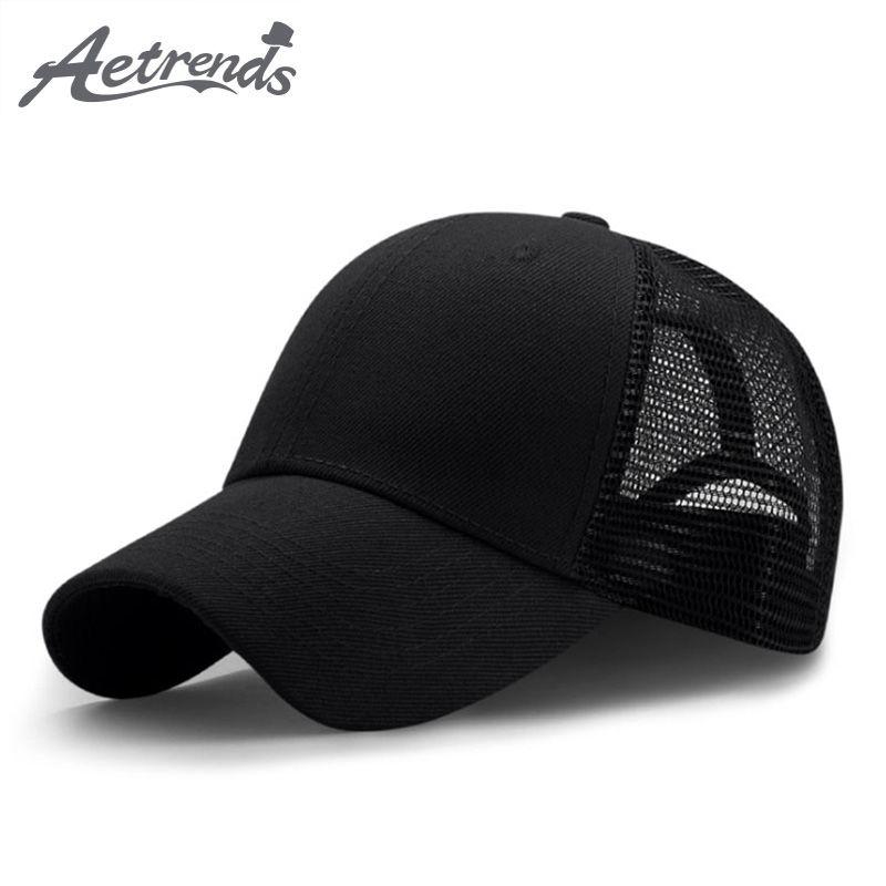 [AETRENDS] 2020 Nueva deporte del verano de malla Gorras de béisbol hombres o mujeres al aire libre Snapback Sombreros hueso transpirable Z-6273