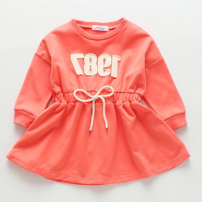 Ropa se cae Halilo de Navidad vestido de manga larga para niñas para la escuela en color Todder princesa de las muchachas del traje naranja vestidos para niños