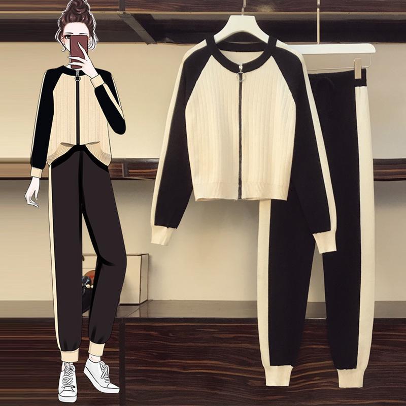 survêtements des femmes de mode 20FW automne nouveau style, plus la taille de la taille tendance costume pull casual tricot slim femme L-4XL