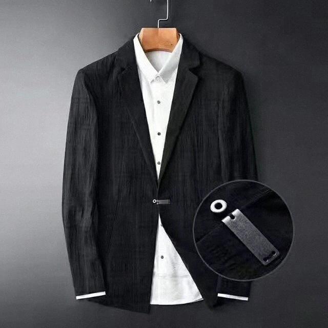 Chegada Nova Blazer da Moda Preto Escuro Grade Men Grain Primavera 100% Suit Cotton Hight Mens Qualidade Plus Size M - 4XL J4DQ #