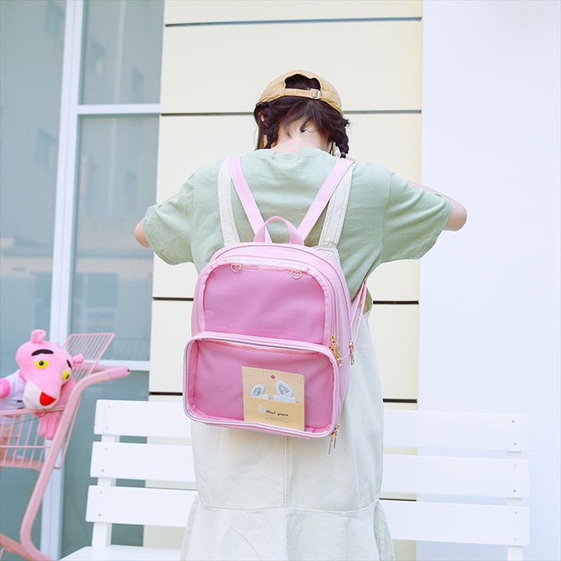 Yeni Çift Omuz Sevimli Kore Moda Sırt Çantası Şeffaf Basit Jelly Ita Çanta JK Cosplay bookbag