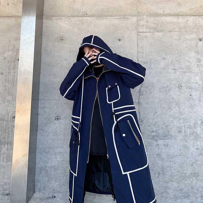 الشتاء الخريف رجل مقنعين خندق معطف الرجال جودة عالية عارضة طويلة الشارع الشهير الذكور الصلبة سترة واقية طويلة الهيب هوب قميص