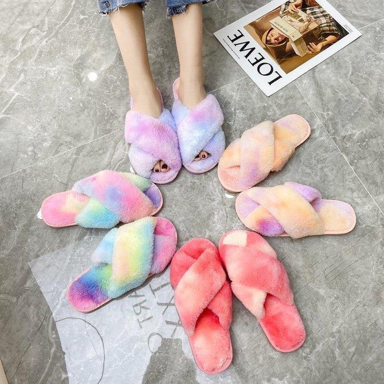 Шерстяных тапочки женщин осенью и зимой моды красочные крест пальца ноги хлопка тапочки домашние тапочки шерстяных DHL