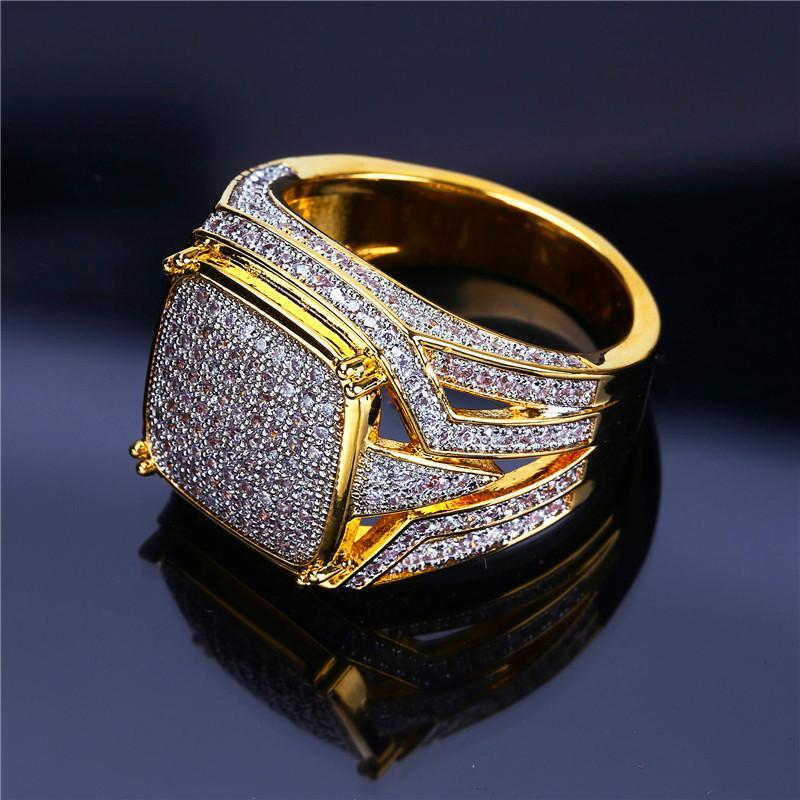 Oro 18K ha placcato zircone anelli per gli uomini di lusso Hiphop Bling Ring fuori ghiacciato gioielli zircone cubico