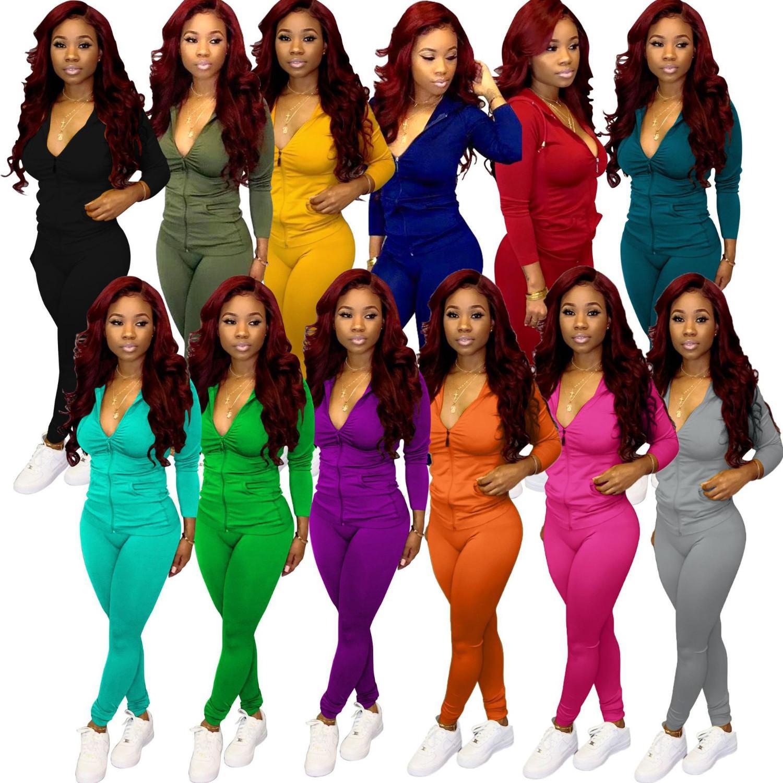 Kadınlar Eşofman İki Adet Set Tasarımcı Moda Uzun Kollu Kıyafetler Kulübü Katı Renk Fermuar Coat Casual Yeni Bayan Giyim