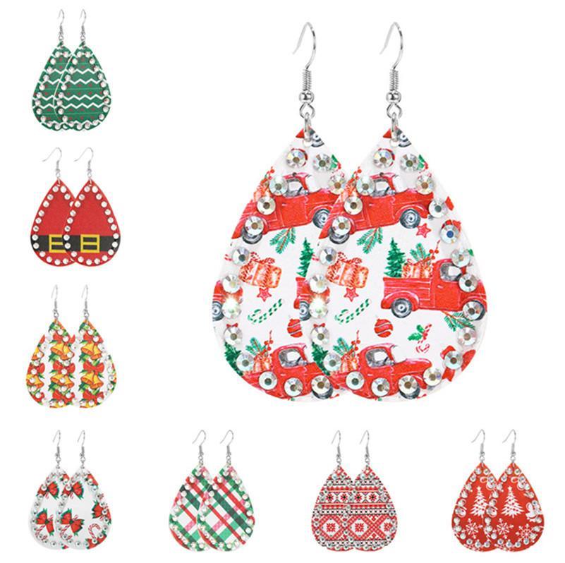D9210 Cuoio Forma Waterdrop orecchini Designers diamante strass Orecchini Earbob Albero di Natale del pupazzo di neve Babbo Natale orecchini di goccia lunghi