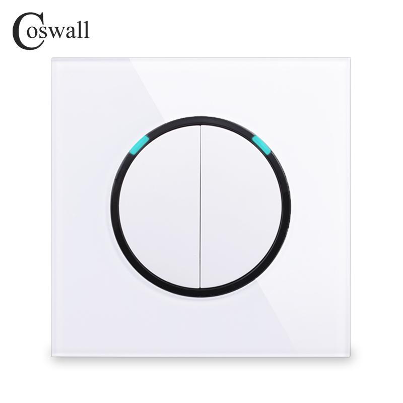 Coswall Cam Panel 2 Gang 2 Yollu Rastgele LED Göstergesi R11 Serisi ile Anahtarlı Duvar Işık Anahtarı sayesinde Açma / Kapama Geçiş tıklayın