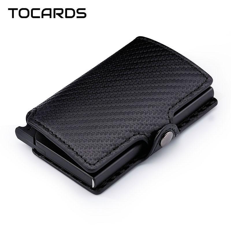 Blocking Carbon Fiber Holder Aluminum Metal Cardholder Male Smart Wallet Leather Case Slim Purse for Men Women