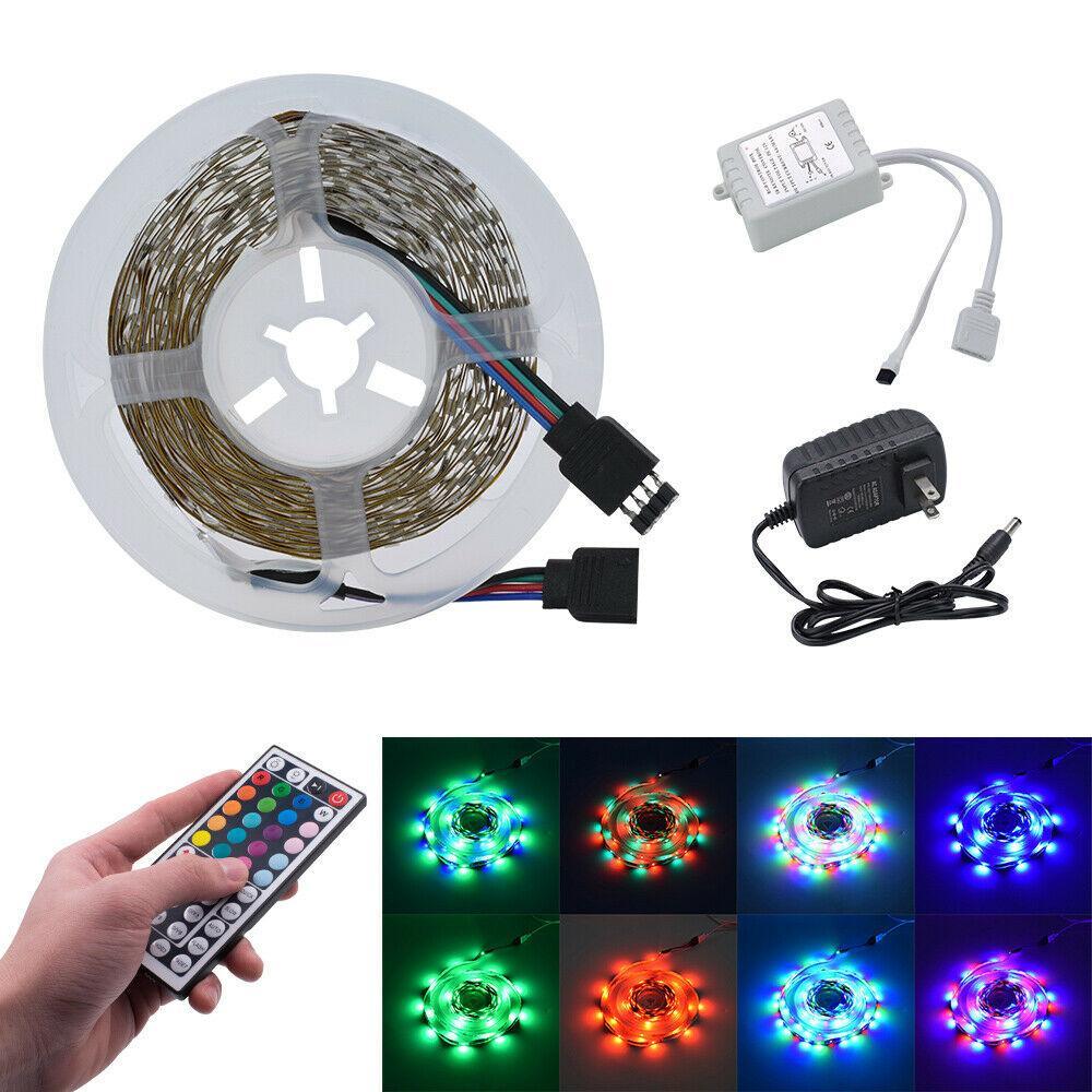 16 피트 24W 300 개 LED RGB 색상 SMD 스트립 조명 44 키 원격 + 12V 어댑터