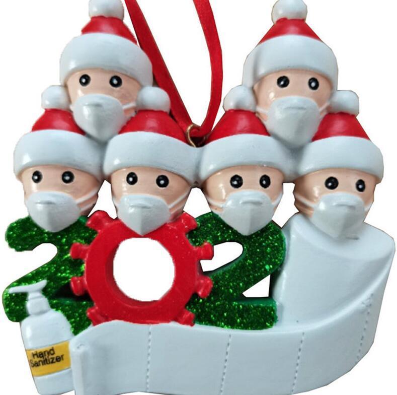 Presentes Partido Festival Pendente de Natal Xmas Tree decoração personalizada Família Ornamento Pandemic com máscaras Hand Sanitizer D9907
