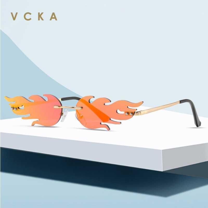 VCKA 2020 Moda Unissex Flama óculos sem aro Aceno óculos de sol UV400 óculos de luxo Trending Limite Streetwear Eyewear