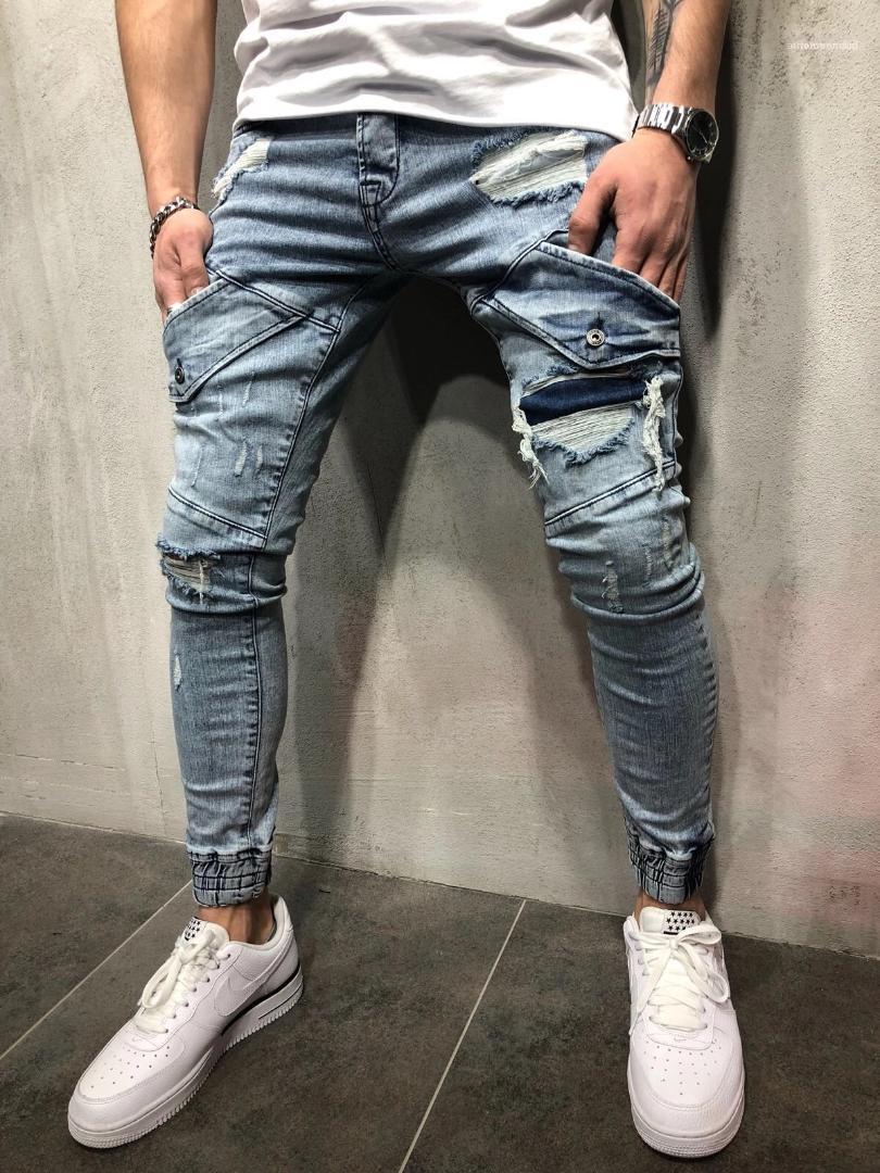 Jean Pantalons Vogue Hommes Jeans Washed New Spring Light Blue Ripped Designer poches capris