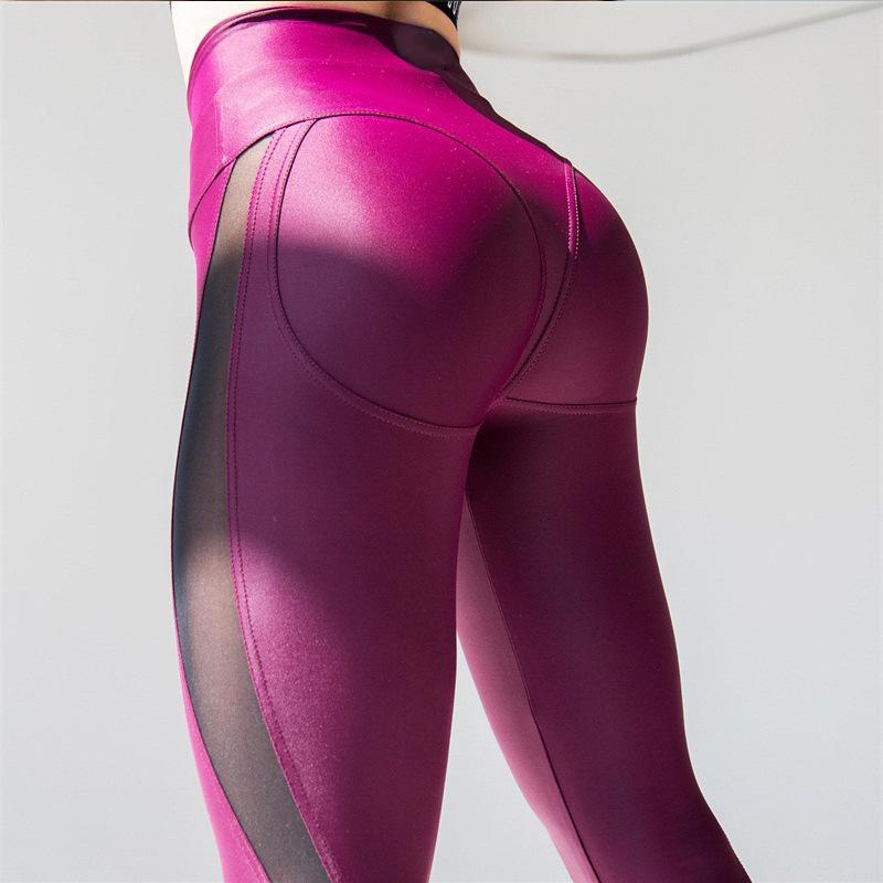 Spandex Fitness Elastic empuja hacia arriba los pantalones legging de malla remiendo de la manera femenino rosa entrenamiento polainas más el tamaño