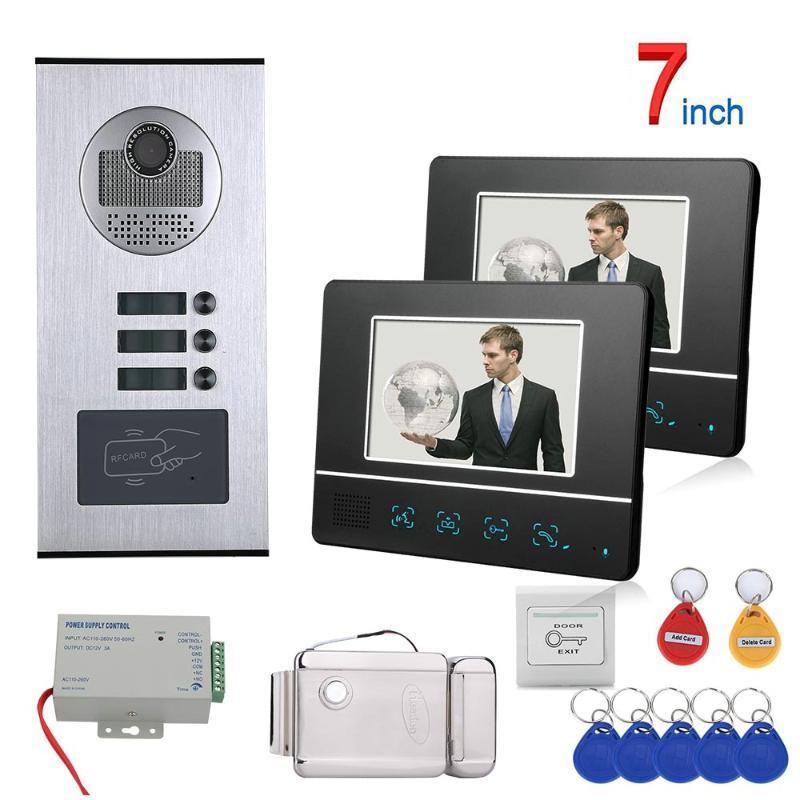 Telefones de porta de vídeo Botão de toque de 7 polegadas 2 Apartamento / Família Sistema de Intercomunicação de Telefone RFID 1000TVL Camera Doorbell + Lock de greve elétrica