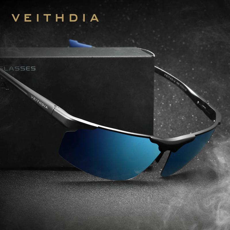 Магния и алюминия безободковых Мужские солнцезащитные очки поляризованные UV400 Солнцезащитные очки очки Аксессуары для мужчин Синий Покрытие Зеркало 6587