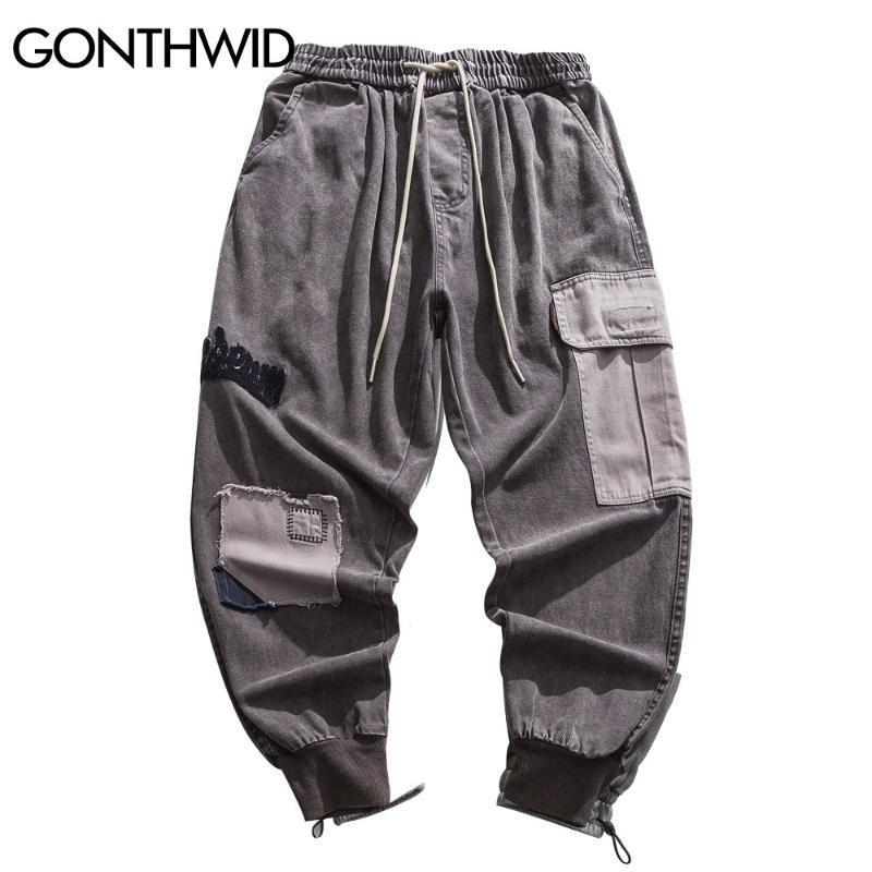 GONTHWID carretera Joggers Harem Pantalones vaqueros Streetwear Hip Hop Casual holgada del bloque del color del remiendo de múltiples bolsillos de los pantalones vaqueros holgados pantalones