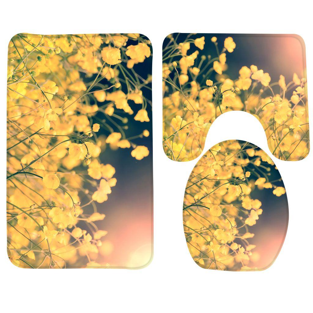 2020 Bathroom Mat Set Yellow Flowers Pattern Bath Rug Anti Slip Foam Soft Shower Mat And Toilet Sets From Qian007 14 84 Dhgate Com