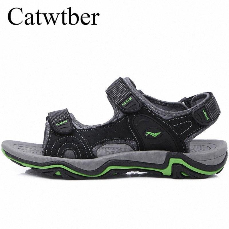 Catwtber marca calda di nuovo modo di cuoio degli uomini sandali fatti a mano uomini estate scarpe morbida pelle di scarpe di alta qualità Flats Beach sandalo sandals G7VL #