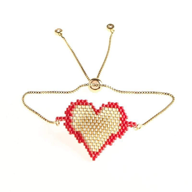 Rttooas MIYUKI coeur Bracelet femmes Pulseras Mujer 2020 Chaîne en or à la main en perles Couples cadeau de bijoux fantaisie