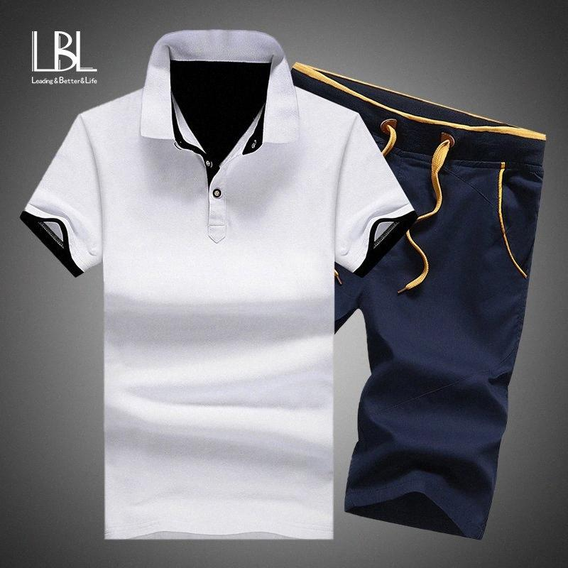 Sets pantalones cortos para hombre conjuntos de algodón de verano conjuntos de camisas 2019 shorts shorts ropa 2 pieza conjunto chándal cintura elástica 37OH #