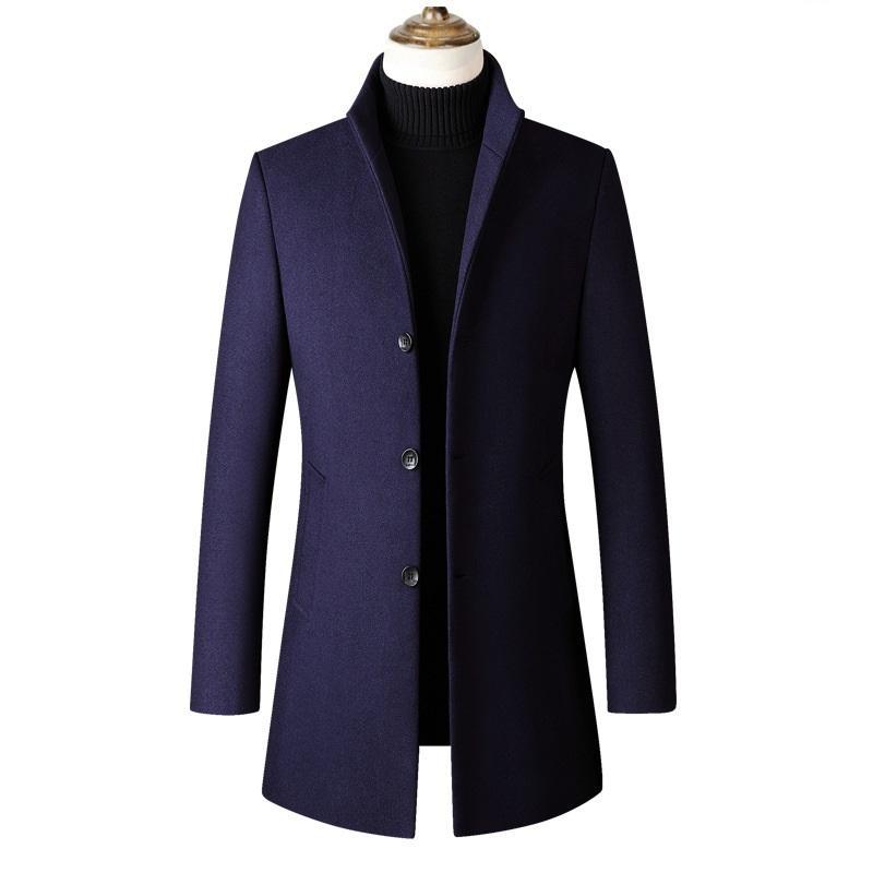 Casacos de lã KUYOMENS Marca Men misturas de lã Coats Outono Inverno dos homens novos Grosso Sólidos Blends Luxurious Brasão Masculino