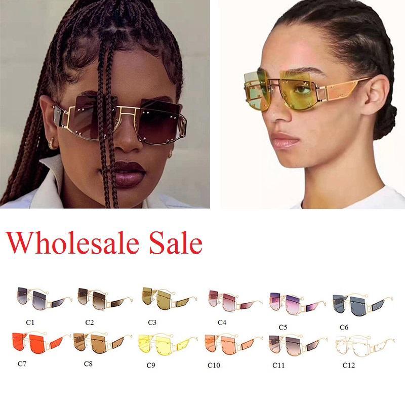 Kadınlar için Toptan Marka Kare Güneş Kadınlar 2020 Benzersiz Sarı Pembe tonları toptan Güneş gözlüğü Kadın Moda UV400 Bulk